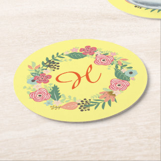Yellow rustic vintage Floral Wreath Coasters Round Paper Coaster