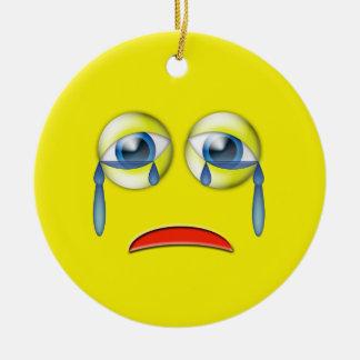 Yellow Sad  Emoji Custom Name Christmas Ornament