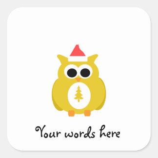 Yellow santa owl square stickers