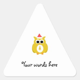 Yellow santa owl triangle stickers