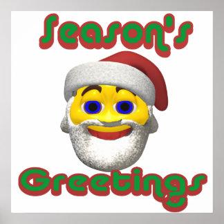 Yellow santa smilie with season greetings print