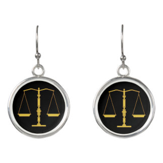 Yellow Scales of Justice Earrings