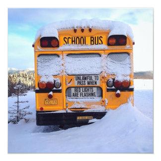 Yellow School Bus 13 Cm X 13 Cm Square Invitation Card