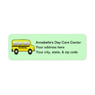 Yellow School Bus Address Return Label Return Address Label