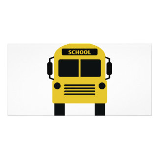 yellow school bus icon picture card