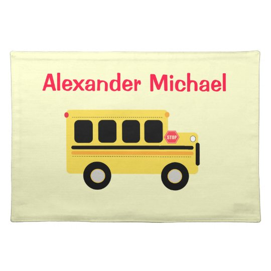 Yellow School Bus Personalised Place Mat