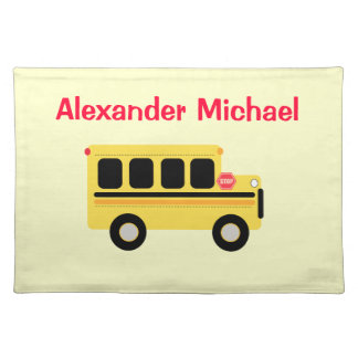 Yellow School Bus Personalized Place Mat