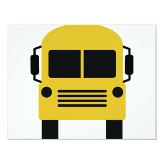 yellow school bus symbol 11 cm x 14 cm invitation card