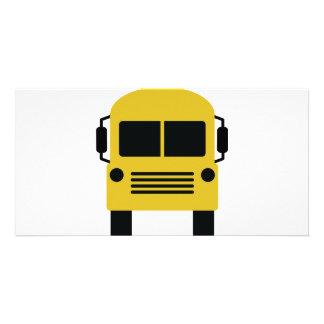 yellow school bus symbol customized photo card