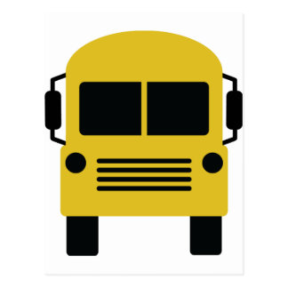 yellow school bus symbol postcard