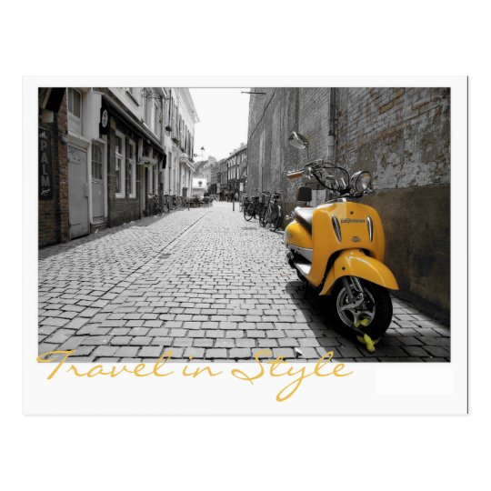 Yellow scooter postcard