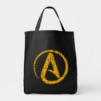 Yellow Scratched and Worn Atheist Atheism Symbol Bag