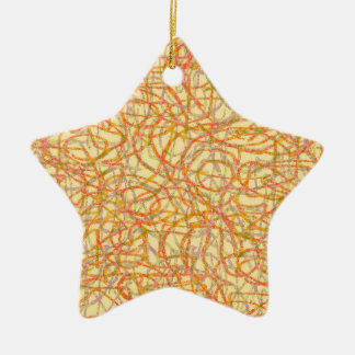 Yellow scribbled lines pattern ceramic star decoration