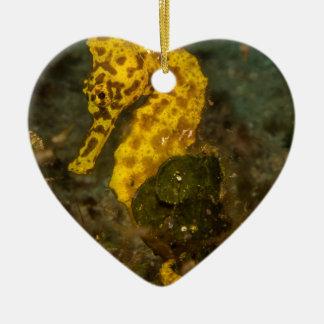 Yellow Seahorse Ceramic Heart Decoration