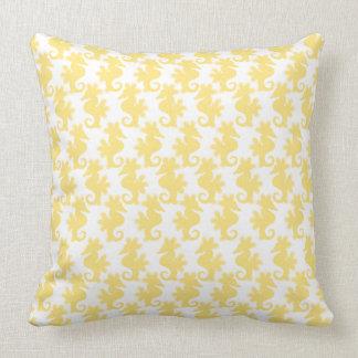 Yellow Seahorse Pattern Cushion