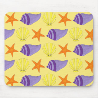 Yellow Seashell Sea Shell Conch Starfish Beach Mouse Mat