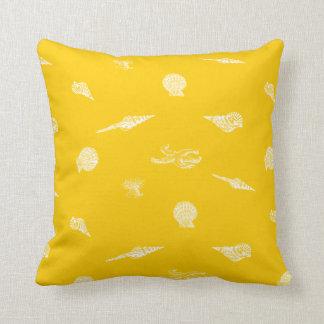 Yellow Seashells & Starfish Beach House Pillow