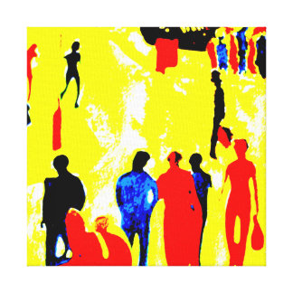 Yellow Seaside Promenade Street Scene Canvas