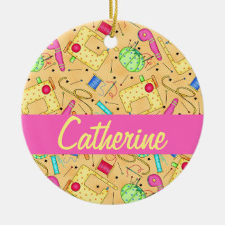 Yellow Sewing Notions Art Name Personalized Christmas Ornament