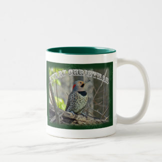 Yellow-Shafted Flicker Merry Christmas Items Two-Tone Mug