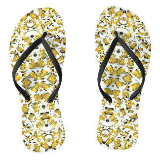 Yellow Shapes Flip Flops