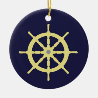 Yellow Ship Helm - Navy Blue Christmas Ornament