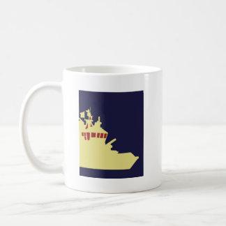 Yellow ship with red. coffee mugs