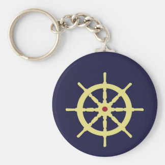 Yellow Ship's Wheel with Red Keychains