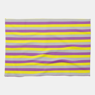 Yellow, Silver and Purple Stripes Tea Towel