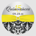 Yellow, Silver, Black Damask Quinceanera Sticker