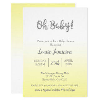 Yellow & Silver Glitter Baby Shower Neutral Card