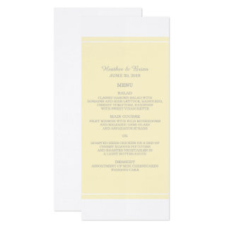 Yellow Simply Elegant Wedding Menu Card