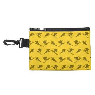 Yellow ski pattern accessory bags