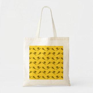 Yellow ski pattern tote bag