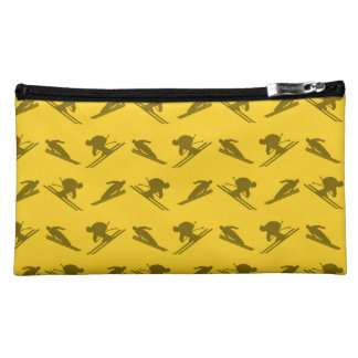 Yellow ski pattern cosmetics bags