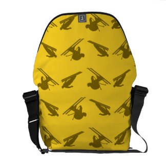 Yellow ski pattern messenger bags