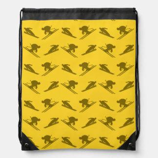 Yellow ski pattern drawstring bag