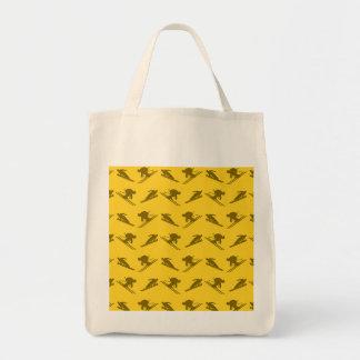 Yellow ski pattern grocery tote bag