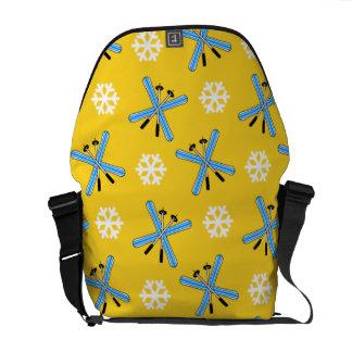 yellow skis and snowflakes pattern messenger bag