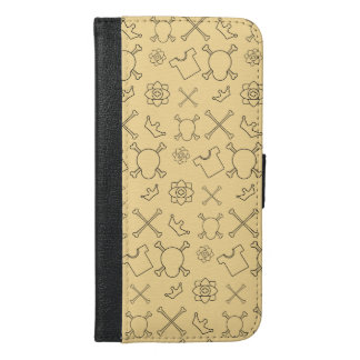 Yellow Skull and Bones pattern iPhone 6/6s Plus Wallet Case