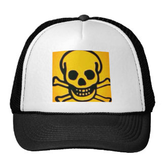 yellow skull and cross bones mesh hats