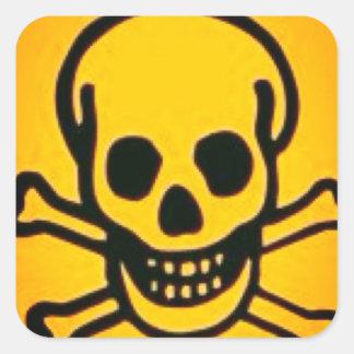 yellow skull and cross bones square stickers