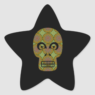 Yellow Skull Fractal Pattern Stickers