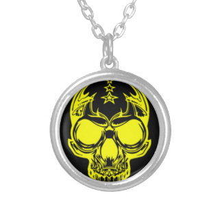 Yellow Skull Round Silver Plated Necklace