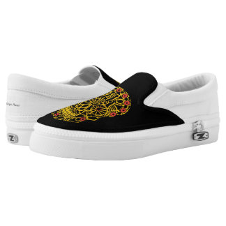 Yellow Skull Slip On Shoes