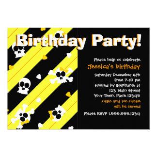 Yellow Skulls and Hearts Birthday Party Custom Invites