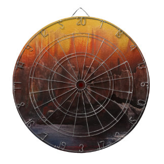 Yellow sky over Mountain lake Dartboard
