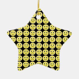 Yellow smiles christmas ornament