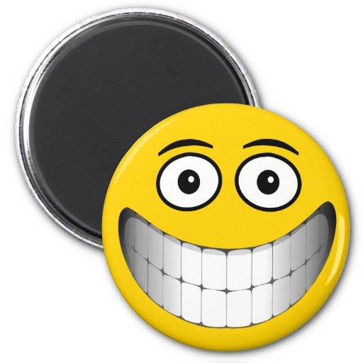Yellow Smiley Face Refrigerator Magnet