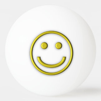 Yellow Smiley Face One Star Ping Pong Ball